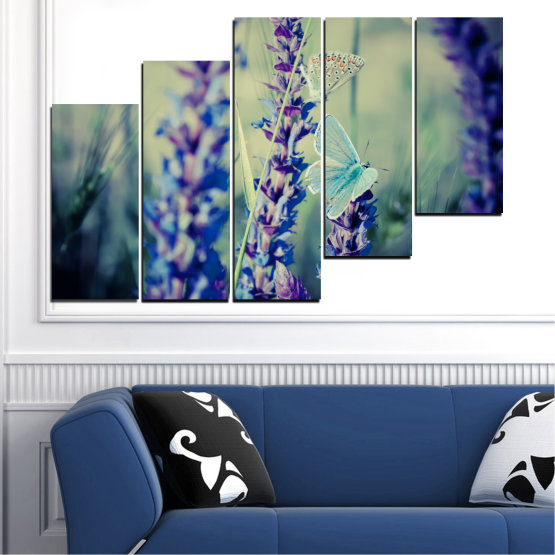 Canvas prints & wall decorative panels - 5 pieces №0190 » Purple, Blue, Black, Gray, Dark grey » Nature, Flowers, Butterfly, Lavender Form #8