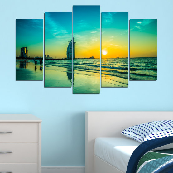 Canvas prints & wall decorative panels - 5 pieces №0191 » Blue, Turquoise, Green, Yellow, Black, Gray, Dark grey » Sea, Sun, Dubai, Beach, Seaside Form #1