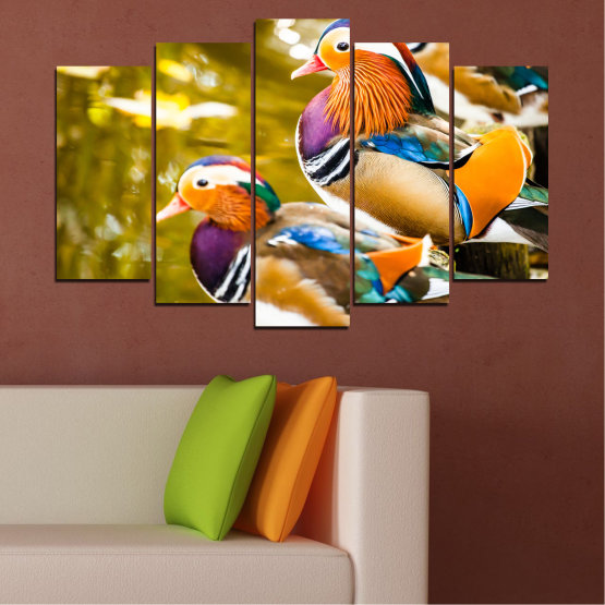 Canvas prints & wall decorative panels - 5 pieces №0192 » Pink, Turquoise, Green, Yellow, Orange, Brown, Black, Beige » Feng shui, Mandarin ducks, Birds Form #1
