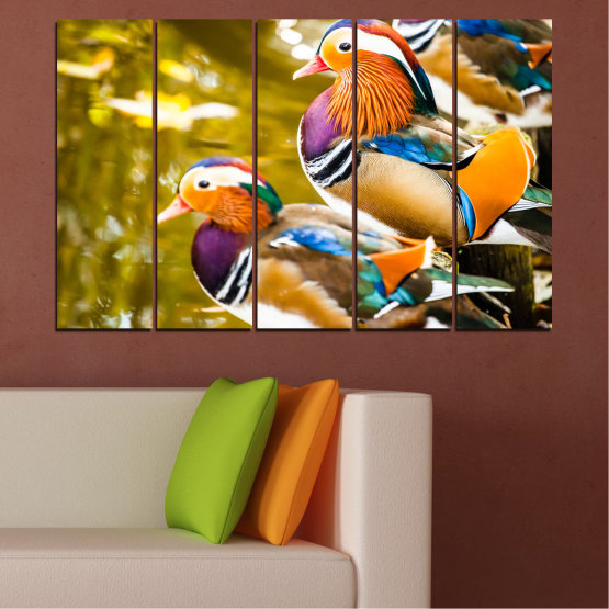 Canvas prints & wall decorative panels - 5 pieces №0192 » Pink, Turquoise, Green, Yellow, Orange, Brown, Black, Beige » Feng shui, Mandarin ducks, Birds Form #2