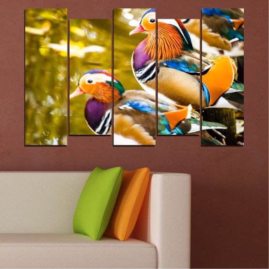 Canvas prints & wall decorative panels - 5 pieces №0192 » Pink, Turquoise, Green, Yellow, Orange, Brown, Black, Beige » Feng shui, Mandarin ducks, Birds Form #3