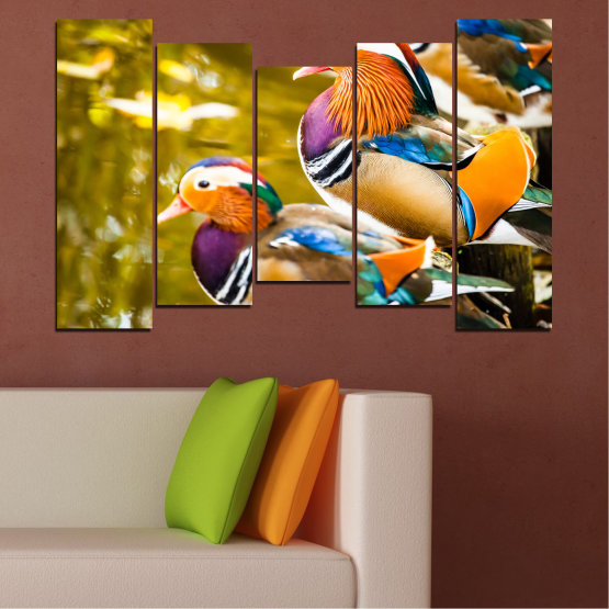 Canvas prints & wall decorative panels - 5 pieces №0192 » Pink, Turquoise, Green, Yellow, Orange, Brown, Black, Beige » Feng shui, Mandarin ducks, Birds Form #4