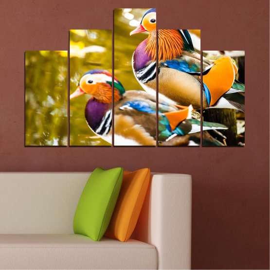 Canvas prints & wall decorative panels - 5 pieces №0192 » Pink, Turquoise, Green, Yellow, Orange, Brown, Black, Beige » Feng shui, Mandarin ducks, Birds Form #5