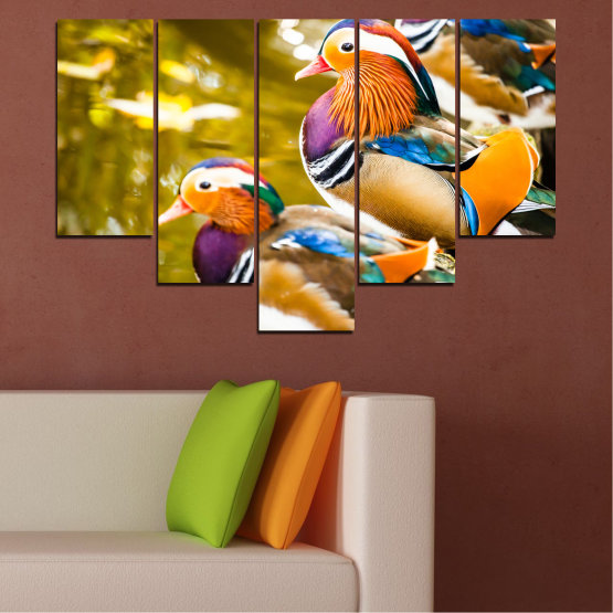 Canvas prints & wall decorative panels - 5 pieces №0192 » Pink, Turquoise, Green, Yellow, Orange, Brown, Black, Beige » Feng shui, Mandarin ducks, Birds Form #6