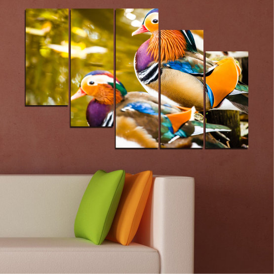 Canvas prints & wall decorative panels - 5 pieces №0192 » Pink, Turquoise, Green, Yellow, Orange, Brown, Black, Beige » Feng shui, Mandarin ducks, Birds Form #7