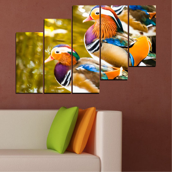 Canvas prints & wall decorative panels - 5 pieces №0192 » Pink, Turquoise, Green, Yellow, Orange, Brown, Black, Beige » Feng shui, Mandarin ducks, Birds Form #8
