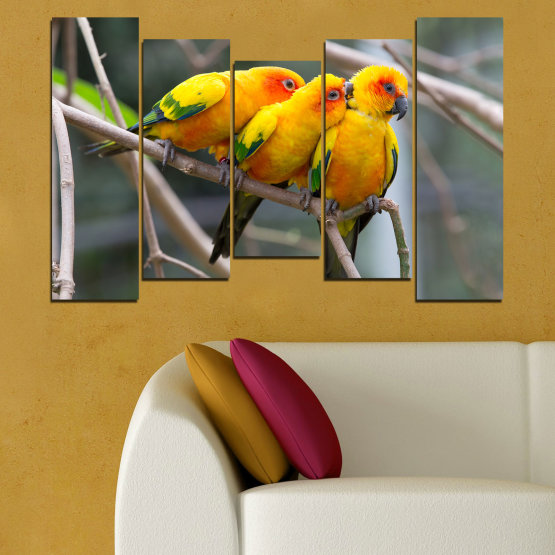 Canvas prints & wall decorative panels - 5 pieces №0193 » Red, Green, Yellow, Orange, Brown, Gray, Beige, Dark grey » Animal, Birds, Parrot Form #4