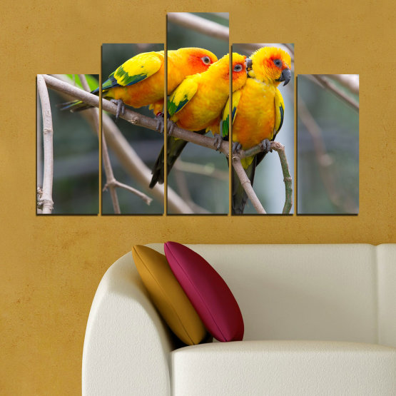 Canvas prints & wall decorative panels - 5 pieces №0193 » Red, Green, Yellow, Orange, Brown, Gray, Beige, Dark grey » Animal, Birds, Parrot Form #5