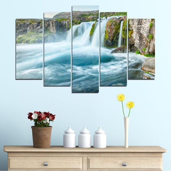 Canvas prints & wall decorative panels - 5 pieces №0194 » Blue, Turquoise, Green, Gray, White, Dark grey » Nature, Landscape, Water, Waterfall Form #1