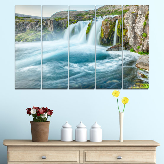 Canvas prints & wall decorative panels - 5 pieces №0194 » Blue, Turquoise, Green, Gray, White, Dark grey » Nature, Landscape, Water, Waterfall Form #2