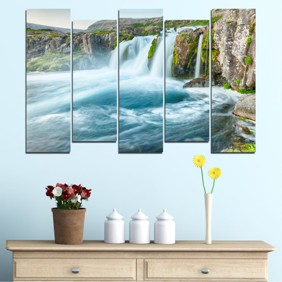 Canvas prints & wall decorative panels - 5 pieces №0194 » Blue, Turquoise, Green, Gray, White, Dark grey » Nature, Landscape, Water, Waterfall Form #3