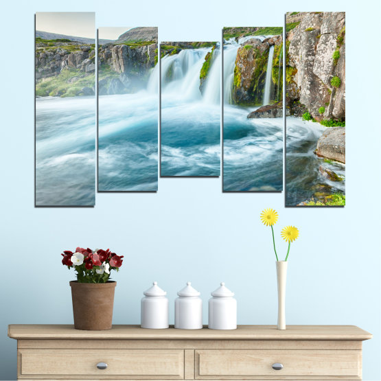 Canvas prints & wall decorative panels - 5 pieces №0194 » Blue, Turquoise, Green, Gray, White, Dark grey » Nature, Landscape, Water, Waterfall Form #4