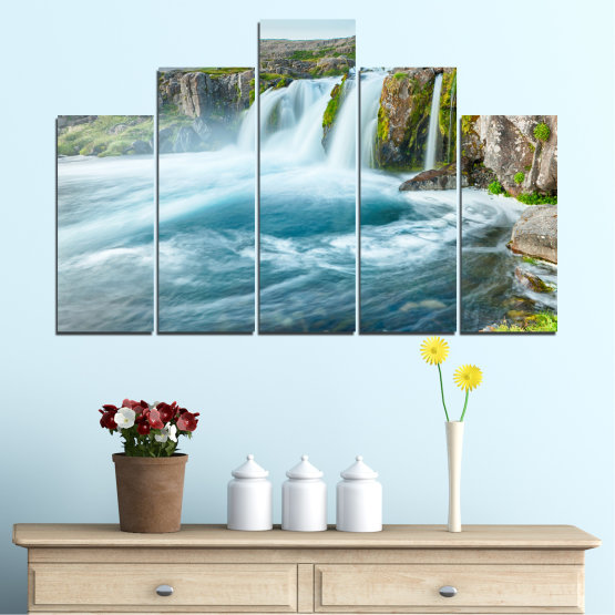 Canvas prints & wall decorative panels - 5 pieces №0194 » Blue, Turquoise, Green, Gray, White, Dark grey » Nature, Landscape, Water, Waterfall Form #5