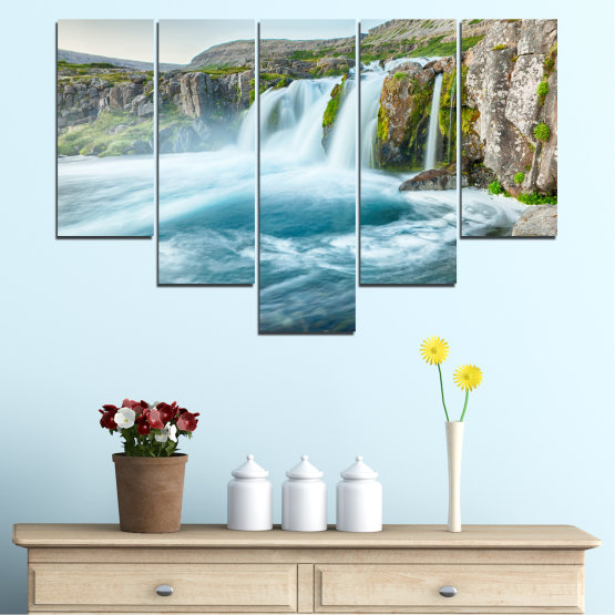 Canvas prints & wall decorative panels - 5 pieces №0194 » Blue, Turquoise, Green, Gray, White, Dark grey » Nature, Landscape, Water, Waterfall Form #6