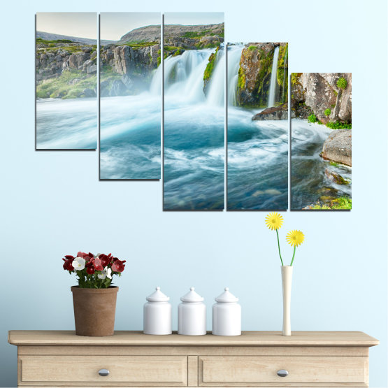 Canvas prints & wall decorative panels - 5 pieces №0194 » Blue, Turquoise, Green, Gray, White, Dark grey » Nature, Landscape, Water, Waterfall Form #7
