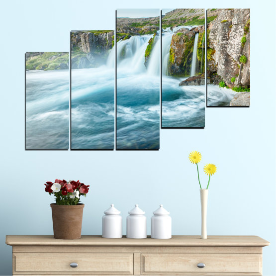Canvas prints & wall decorative panels - 5 pieces №0194 » Blue, Turquoise, Green, Gray, White, Dark grey » Nature, Landscape, Water, Waterfall Form #8
