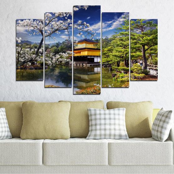 Декоративни панели и картини от канава - от 5 части №0195 » Син, Зелен, Жълт, Кафяв, Черен, Сив, Бял, Тъмно сив » Пейзаж, Дърво, Къща, Япония, Азия Form #1