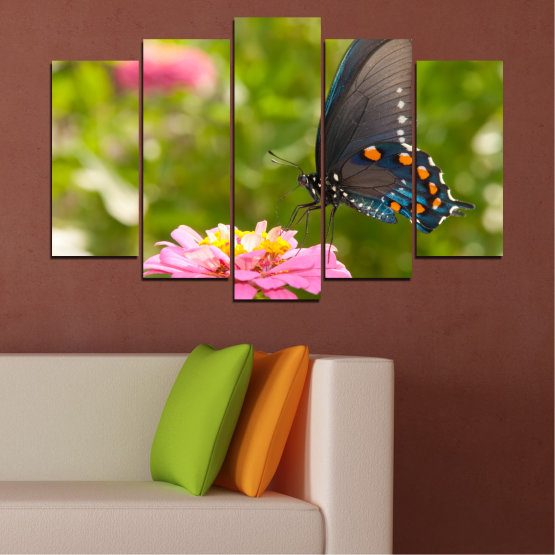 Canvas prints & wall decorative panels - 5 pieces №0196 » Pink, Green, Yellow, Brown, Milky pink, Dark grey » Flowers, Nature, Butterfly Form #1