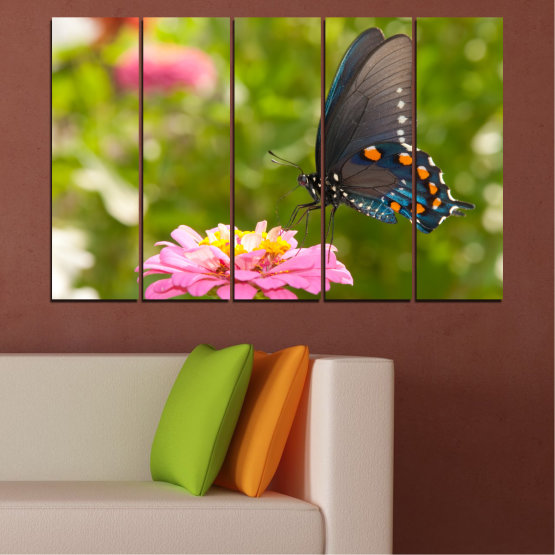 Canvas prints & wall decorative panels - 5 pieces №0196 » Pink, Green, Yellow, Brown, Milky pink, Dark grey » Flowers, Nature, Butterfly Form #2