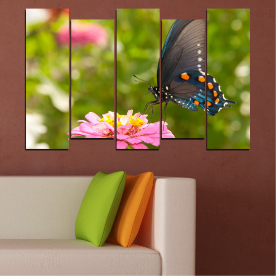 Canvas prints & wall decorative panels - 5 pieces №0196 » Pink, Green, Yellow, Brown, Milky pink, Dark grey » Flowers, Nature, Butterfly Form #3