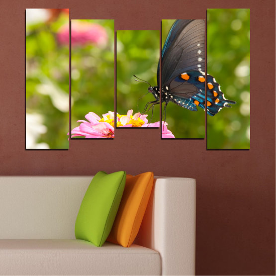 Canvas prints & wall decorative panels - 5 pieces №0196 » Pink, Green, Yellow, Brown, Milky pink, Dark grey » Flowers, Nature, Butterfly Form #4