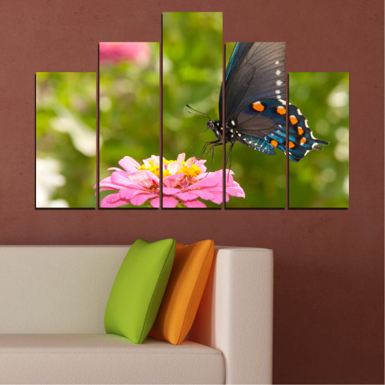 Canvas prints & wall decorative panels - 5 pieces №0196 » Pink, Green, Yellow, Brown, Milky pink, Dark grey » Flowers, Nature, Butterfly Form #5