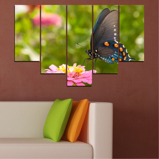 Canvas prints & wall decorative panels - 5 pieces №0196 » Pink, Green, Yellow, Brown, Milky pink, Dark grey » Flowers, Nature, Butterfly Form #6