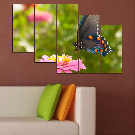 Canvas prints & wall decorative panels - 5 pieces №0196 » Pink, Green, Yellow, Brown, Milky pink, Dark grey » Flowers, Nature, Butterfly Form #7