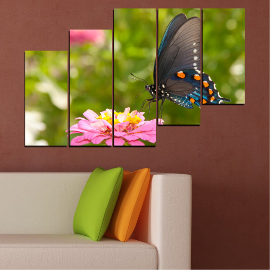 Canvas prints & wall decorative panels - 5 pieces №0196 » Pink, Green, Yellow, Brown, Milky pink, Dark grey » Flowers, Nature, Butterfly Form #8