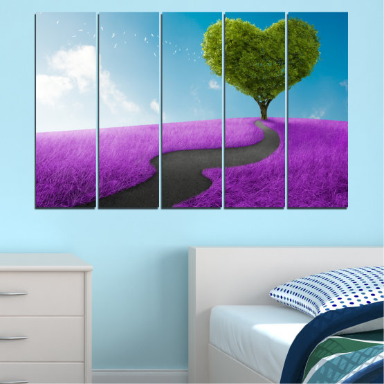 Canvas prints & wall decorative panels - 5 pieces №0197 » Purple, Turquoise, Green, Gray, White, Dark grey » Collage, Tree, Heart, Meadow Form #2