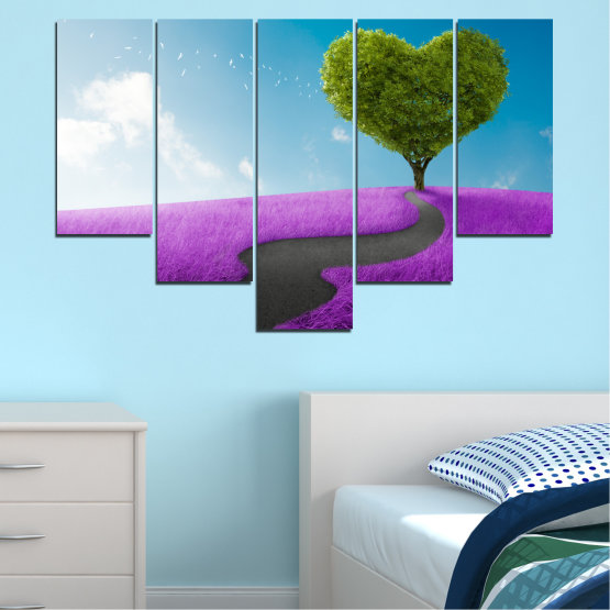 Canvas prints & wall decorative panels - 5 pieces №0197 » Purple, Turquoise, Green, Gray, White, Dark grey » Collage, Tree, Heart, Meadow Form #6