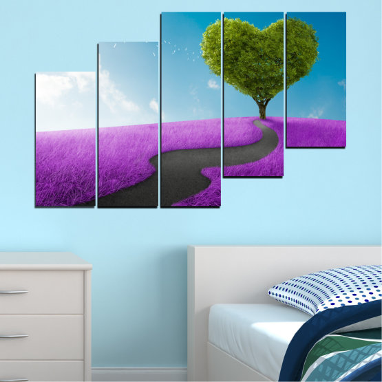Canvas prints & wall decorative panels - 5 pieces №0197 » Purple, Turquoise, Green, Gray, White, Dark grey » Collage, Tree, Heart, Meadow Form #8