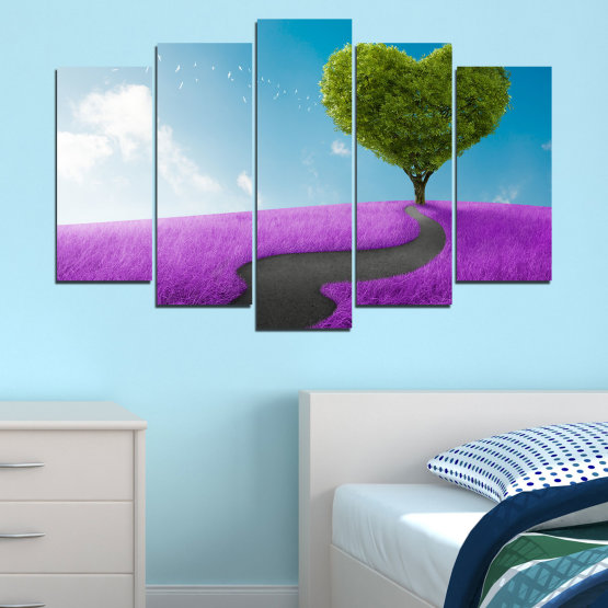 Canvas prints & wall decorative panels - 5 pieces №0197 » Purple, Turquoise, Green, Gray, White, Dark grey » Collage, Tree, Heart, Meadow Form #1
