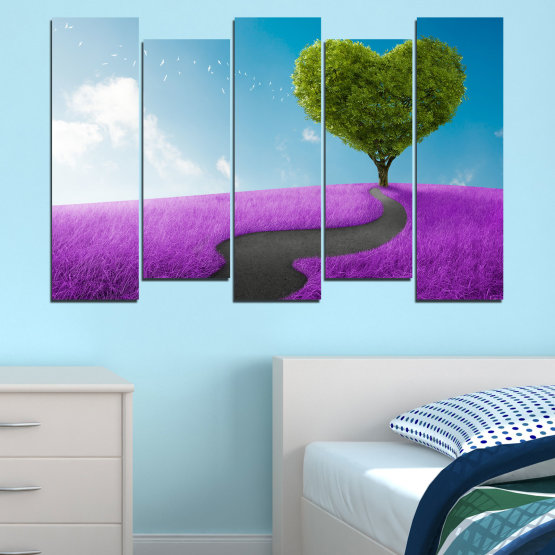 Canvas prints & wall decorative panels - 5 pieces №0197 » Purple, Turquoise, Green, Gray, White, Dark grey » Collage, Tree, Heart, Meadow Form #3