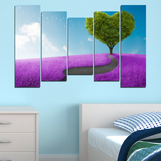 Canvas prints & wall decorative panels - 5 pieces №0197 » Purple, Turquoise, Green, Gray, White, Dark grey » Collage, Tree, Heart, Meadow Form #4