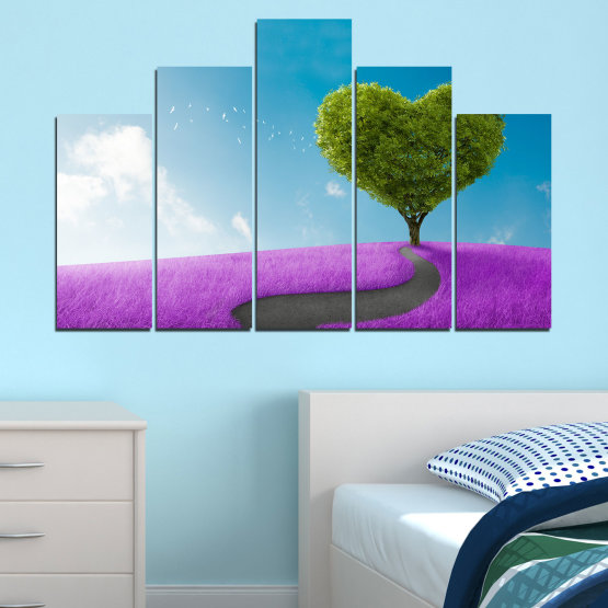 Canvas prints & wall decorative panels - 5 pieces №0197 » Purple, Turquoise, Green, Gray, White, Dark grey » Collage, Tree, Heart, Meadow Form #5
