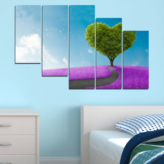 Canvas prints & wall decorative panels - 5 pieces №0197 » Purple, Turquoise, Green, Gray, White, Dark grey » Collage, Tree, Heart, Meadow Form #7