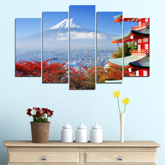 Canvas prints & wall decorative panels - 5 pieces №0198 » Red, Blue, Turquoise, Gray, White » City, House, Japan, Аsia Form #1