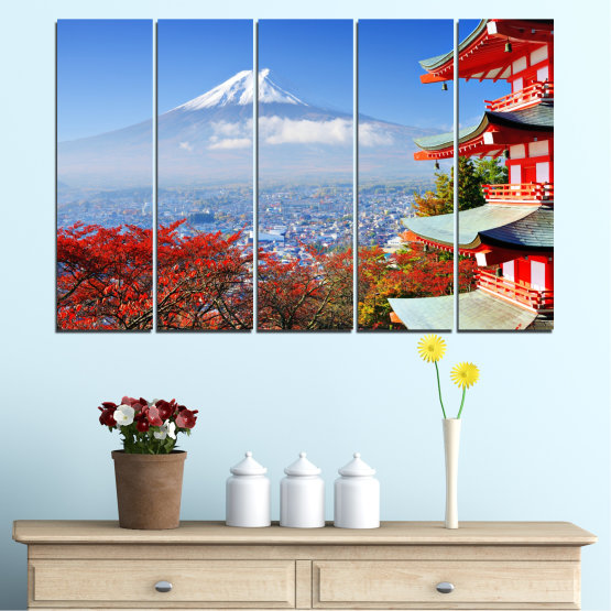 Canvas prints & wall decorative panels - 5 pieces №0198 » Red, Blue, Turquoise, Gray, White » City, House, Japan, Аsia Form #2
