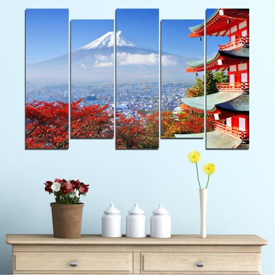 Декоративни панели и картини от канава - от 5 части №0198 » Червен, Син, Тюркоаз, Сив, Бял » Град, Къща, Япония, Азия Form #3