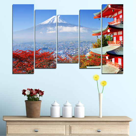 Canvas prints & wall decorative panels - 5 pieces №0198 » Red, Blue, Turquoise, Gray, White » City, House, Japan, Аsia Form #4