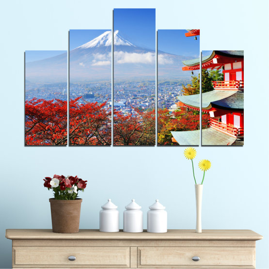 Canvas prints & wall decorative panels - 5 pieces №0198 » Red, Blue, Turquoise, Gray, White » City, House, Japan, Аsia Form #5