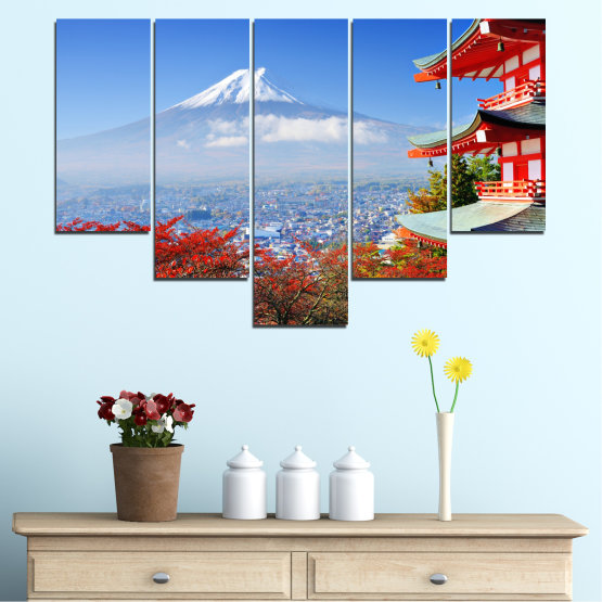 Canvas prints & wall decorative panels - 5 pieces №0198 » Red, Blue, Turquoise, Gray, White » City, House, Japan, Аsia Form #6