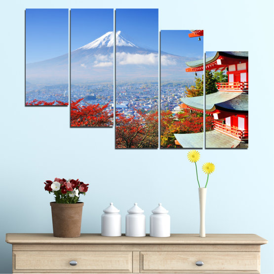 Canvas prints & wall decorative panels - 5 pieces №0198 » Red, Blue, Turquoise, Gray, White » City, House, Japan, Аsia Form #7