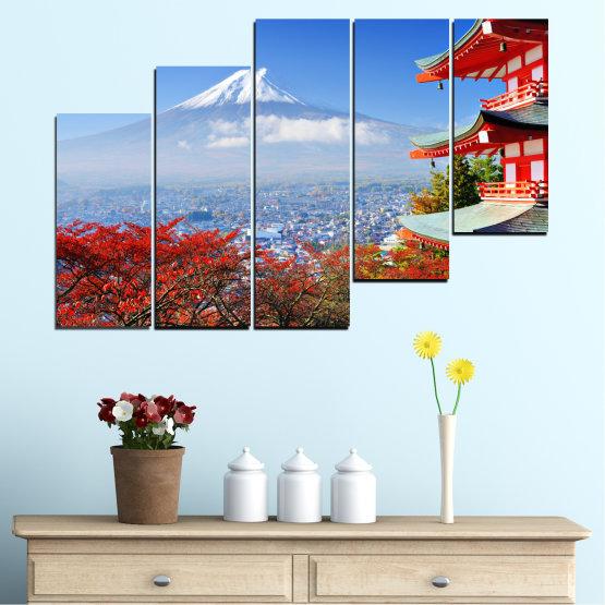 Декоративни панели и картини от канава - от 5 части №0198 » Червен, Син, Тюркоаз, Сив, Бял » Град, Къща, Япония, Азия Form #8