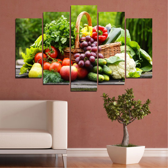 Canvas prints & wall decorative panels - 5 pieces №0020 » Green, Black, Gray, Beige » Culinary, Still life, Fruits, Vegetables Form #1