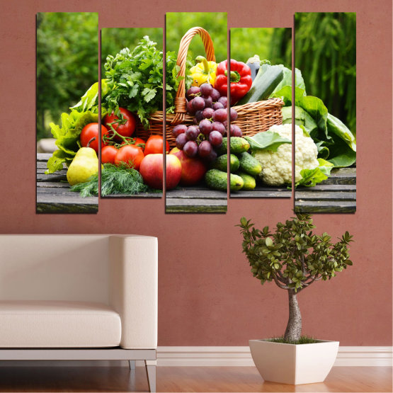 Canvas prints & wall decorative panels - 5 pieces №0020 » Green, Black, Gray, Beige » Culinary, Still life, Fruits, Vegetables Form #3