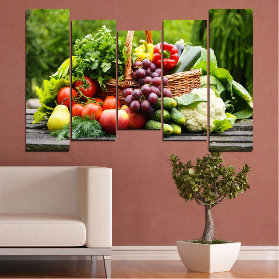 Canvas prints & wall decorative panels - 5 pieces №0020 » Green, Black, Gray, Beige » Culinary, Still life, Fruits, Vegetables Form #4
