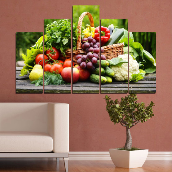 Canvas prints & wall decorative panels - 5 pieces №0020 » Green, Black, Gray, Beige » Culinary, Still life, Fruits, Vegetables Form #5