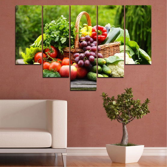 Canvas prints & wall decorative panels - 5 pieces №0020 » Green, Black, Gray, Beige » Culinary, Still life, Fruits, Vegetables Form #6